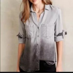 CLOTH & STONE anthropologie chambray ombre top XS
